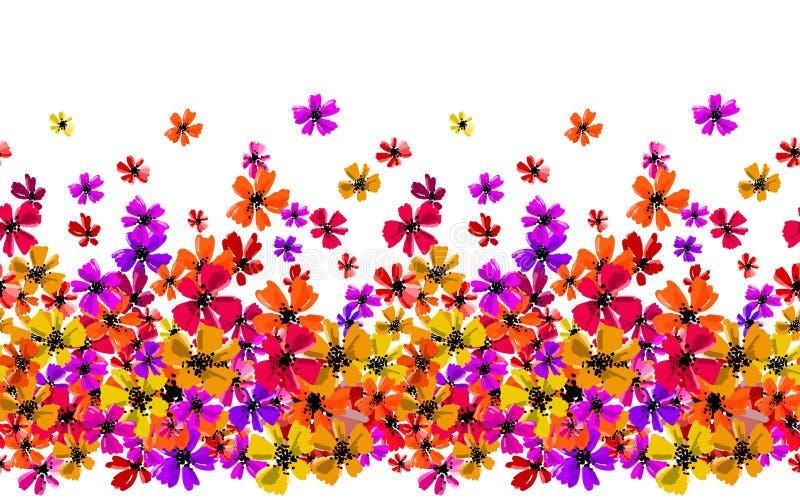 Vector безшовная граница с цветками чертежа руки, multicolor яркая художническая ботаническая иллюстрация, изолированное флористи бесплатная иллюстрация