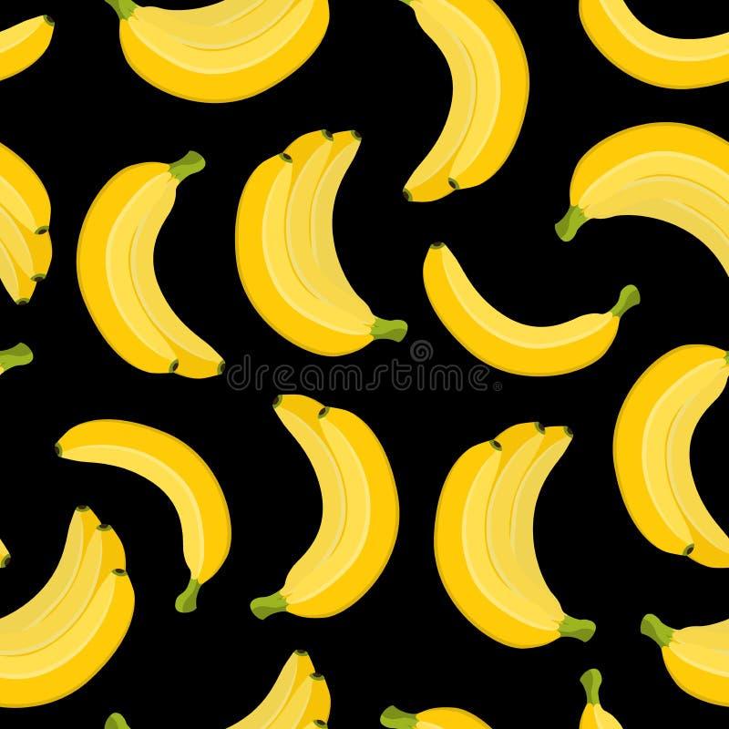 Vector безшовная картина банана, тропического желтого плодоовощ Стиль шаржа плоский иллюстрация штока