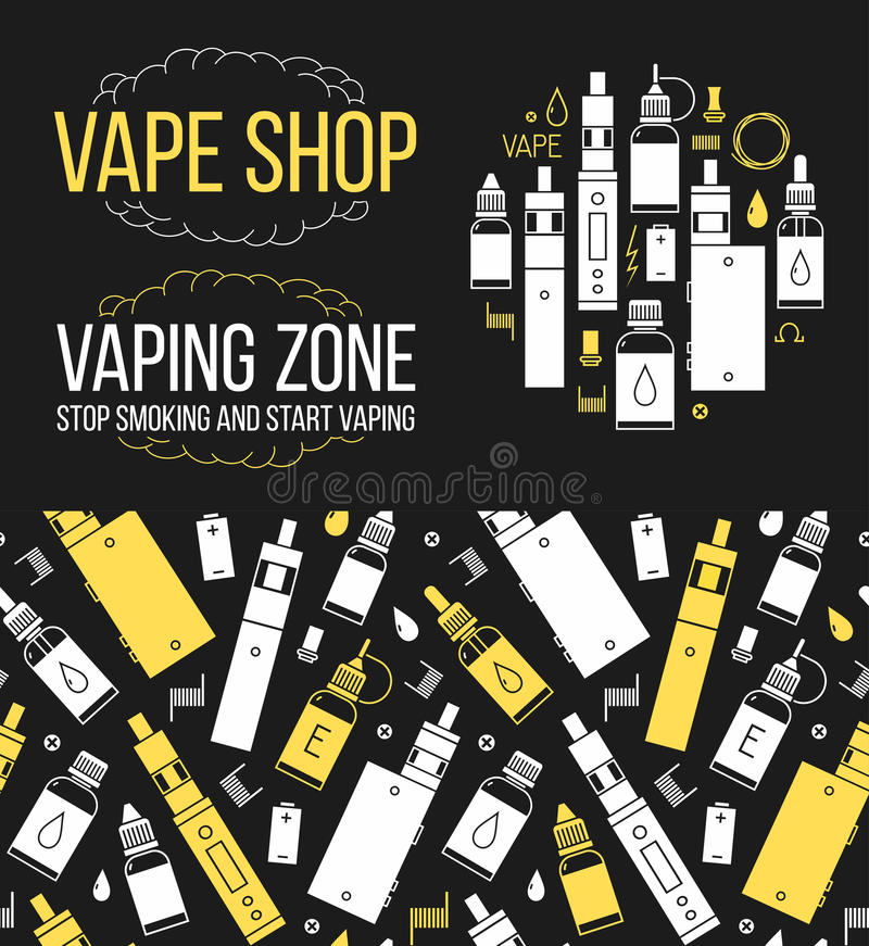 Vector безшовная картина и значки установленные для магазина vape бесплатная иллюстрация