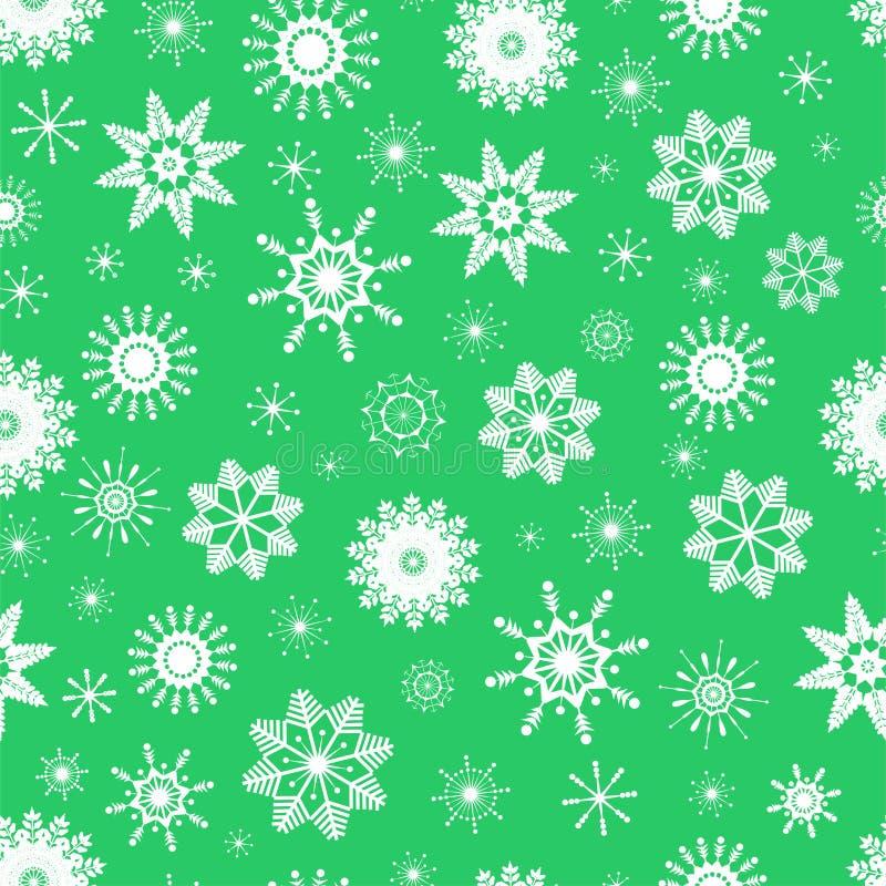 Vector безшовная картина милых белых снежинок на салатовой предпосылке Изолированные плоские значки Смогите использовать для desi бесплатная иллюстрация