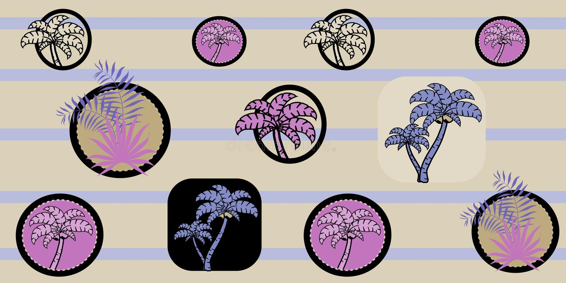 Vector безшовная картина моря с пальмами на striped предпосылке Печать шаржа картина тропическая бесплатная иллюстрация