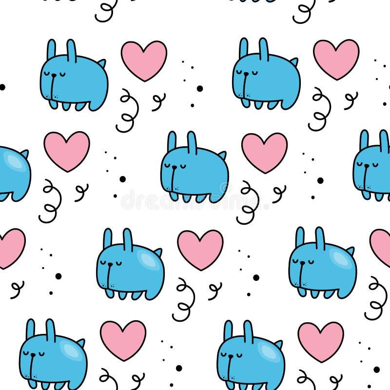 Vector безшовная картина на день ` s валентинки Милый кролик и сердца Нарисованный вручную стиль Тип шаржа иллюстрация вектора