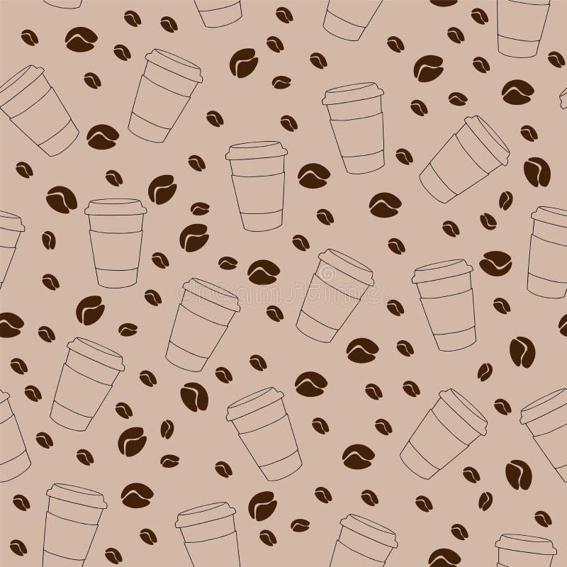 Vector безшовная картина на коричневой предпосылке с кофейными зернами иллюстрация штока