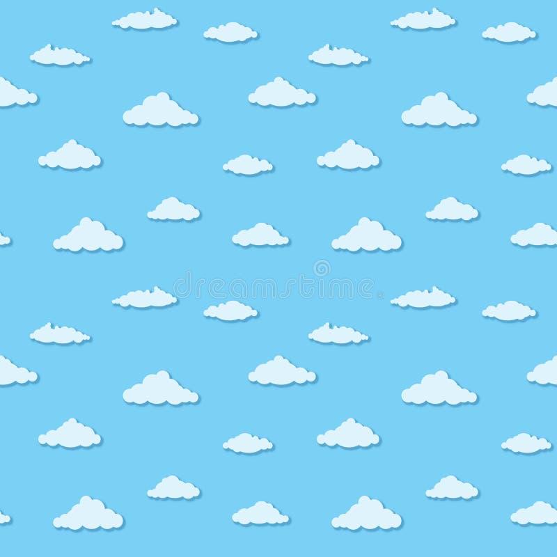 Vector безшовная картина - облака на голубом небе иллюстрация вектора