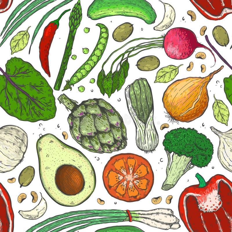 Vector безшовная картина овощей в реалистическом стиле эскиза Здоровая еда, натуральный продучт, vegetable ферма, еда vegan, spor иллюстрация штока