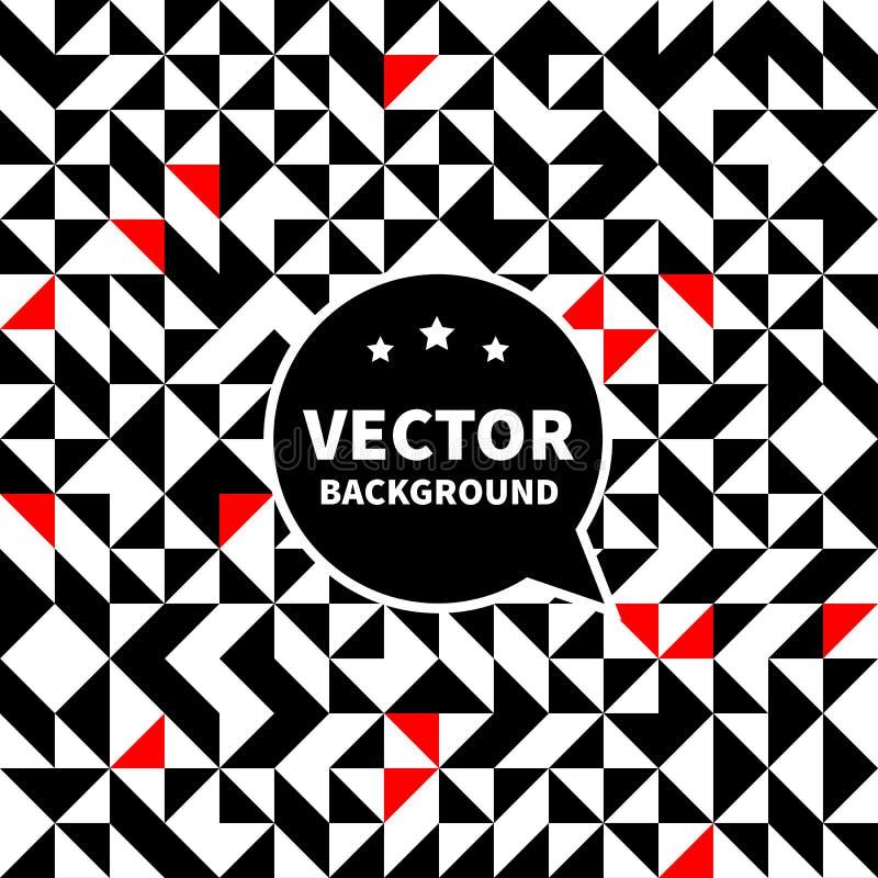 Vector безшовная картина предпосылки, белый черный красный треугольник иллюстрация вектора