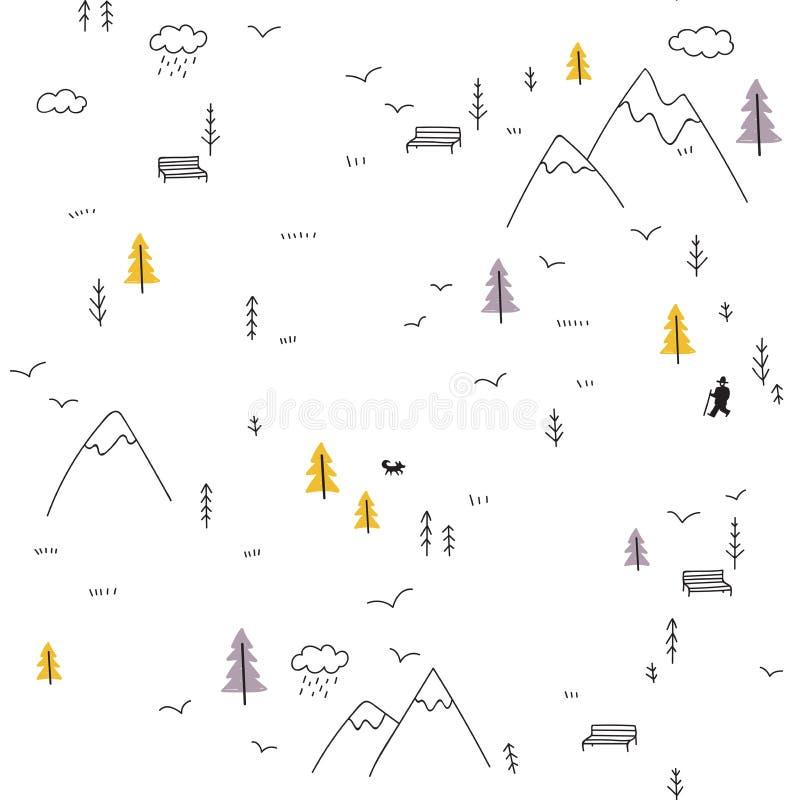 Vector безшовная картина при человек идя в горы иллюстрация вектора