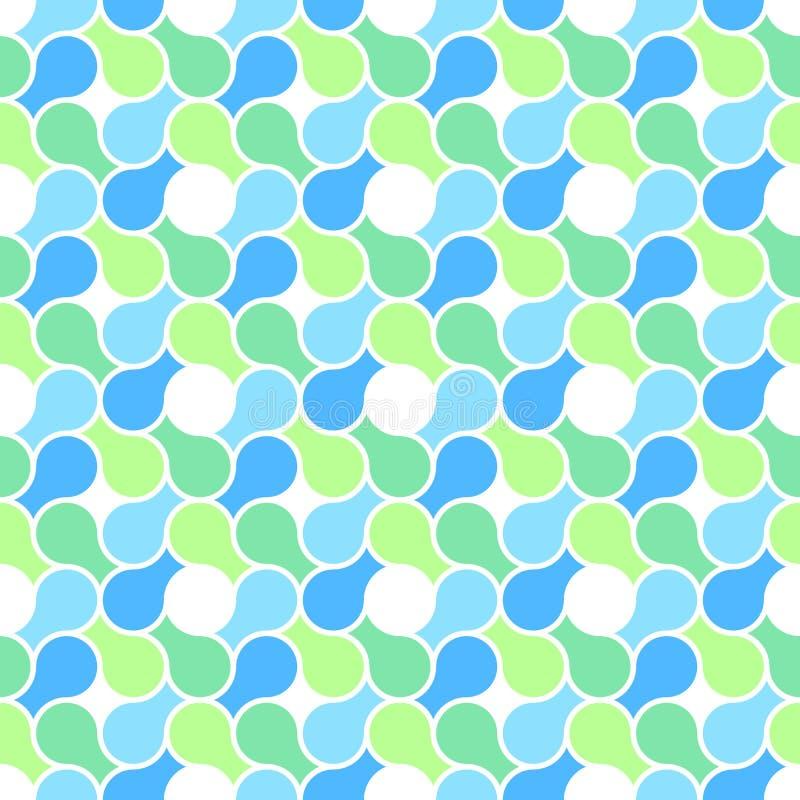 Vector безшовная картина - резюмируйте голубое & зеленое PA иллюстрация вектора