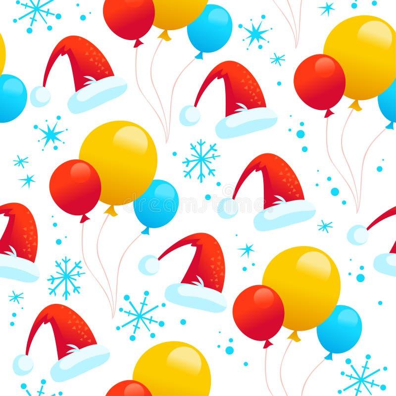 Vector безшовная картина рождества при воздушные шары, голубые снежинки и шляпа santa изолированные на белой предпосылке иллюстрация штока