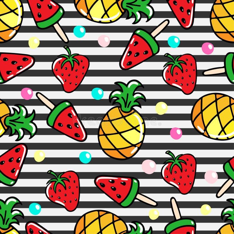 Vector безшовная картина с ананасами, арбузами и srawberries на striped предпосылке иллюстрация штока