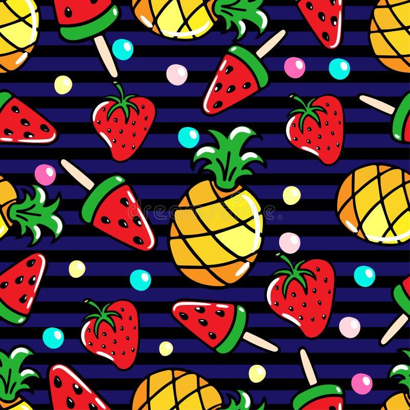 Vector безшовная картина с ананасами, арбузами и srawberries на striped предпосылке бесплатная иллюстрация