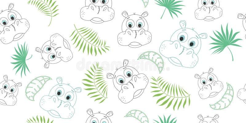 Vector безшовная картина с бегемотом шаржа и листьями ладони также вектор иллюстрации притяжки corel иллюстрация штока