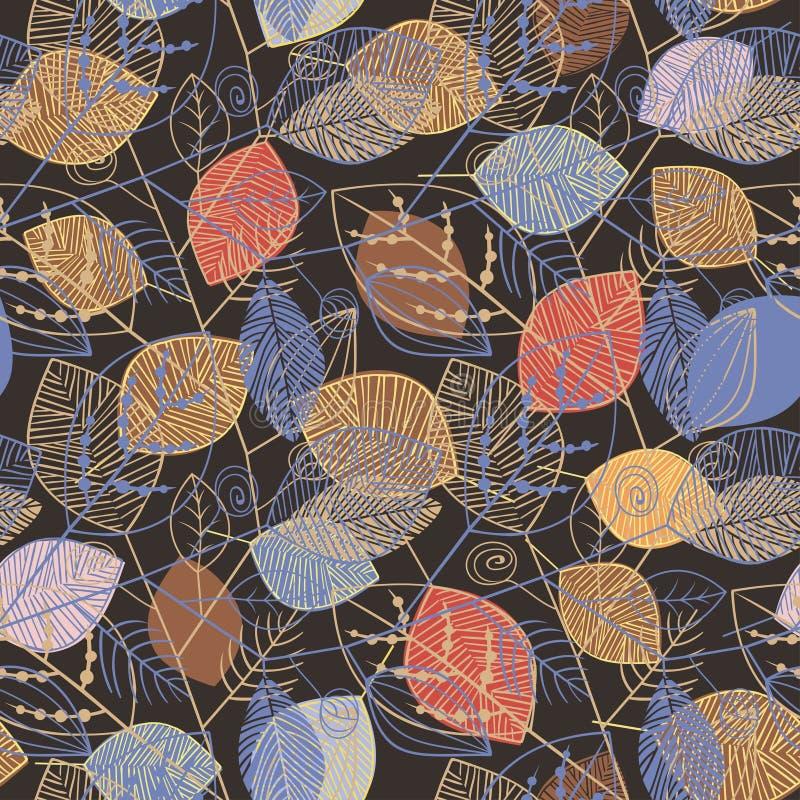 Vector безшовная картина с бежевыми и голубыми силуэтами листьев Картина стиля листьев скандинавского на предпосылке темного кори бесплатная иллюстрация