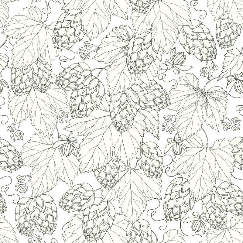 Vector безшовная картина с богато украшенными хмелями с листьями в черноте на белой предпосылке иллюстрация вектора