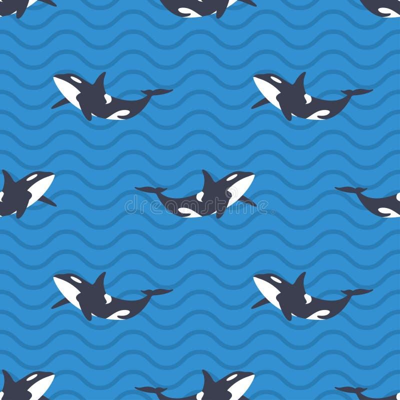 Vector безшовная картина с дельфин-касатками или косатками в море бесплатная иллюстрация