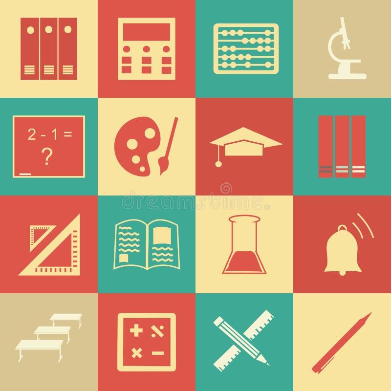 Vector безшовная картина с значками образования - конспект иллюстрация вектора