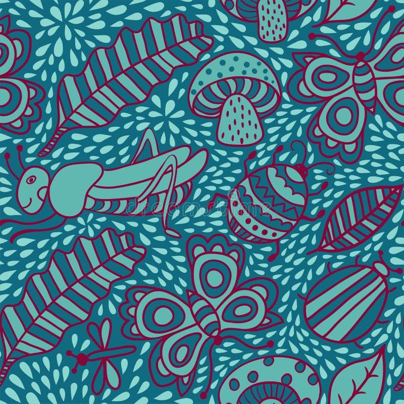 Vector безшовная картина с лист, предпосылкой лист Безшовное Пэт иллюстрация штока