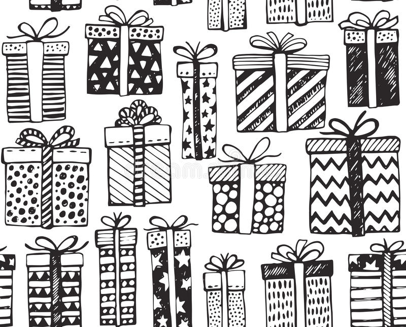 Vector безшовная картина с коробками рождества или дня рождения богато украшенными присутствующими иллюстрация штока