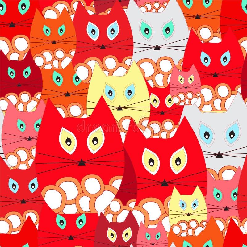 Vector безшовная картина с котом, дизайн шаржа doodling вакханические иллюстрация вектора