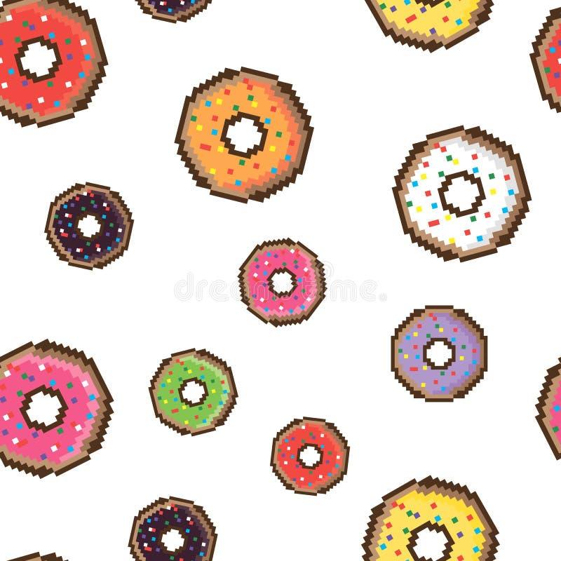 Vector безшовная картина с красочной поливой и взбрызните donuts Иллюстрация предпосылки свежая и yummy donuts иллюстрация штока