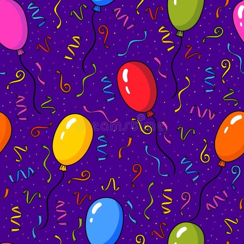 Vector безшовная картина с красочными воздушными шарами и confetti над фиолетовой предпосылкой иллюстрация вектора