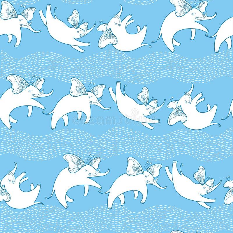Vector безшовная картина с крылами слона и бабочки летания плана белыми на голубой предпосылке с striped волнами иллюстрация штока
