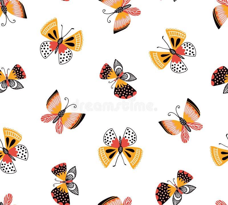 Vector безшовная картина с милыми декоративными бабочками на белой предпосылке Яркий стильный дизайн ткани иллюстрация вектора