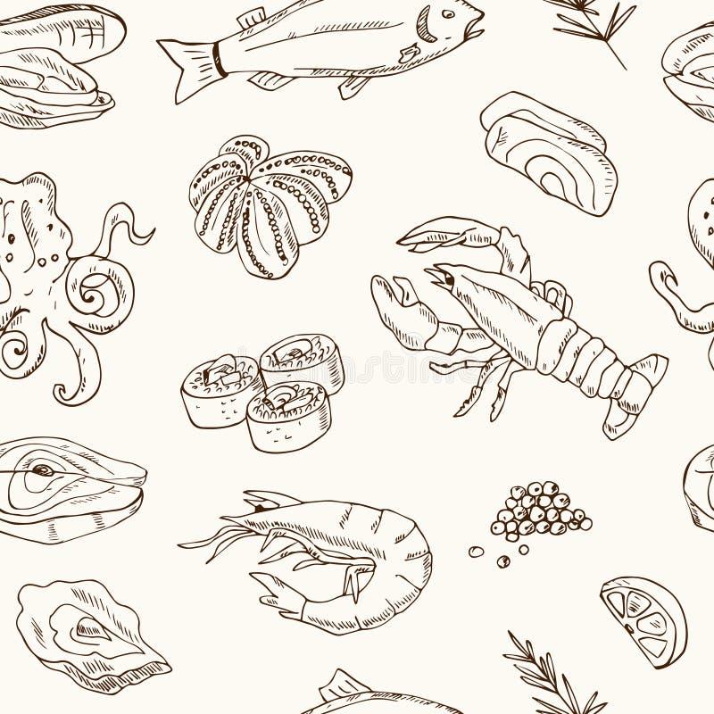 Vector безшовная картина с нарисованной рукой иллюстрацией морепродуктов - свежей рыбой, омаром, крабом, устрицей, мидией, кальма иллюстрация вектора