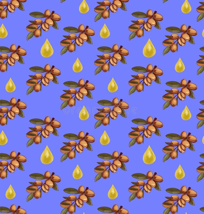 VECTOR безшовная картина с нарисованным рукой эскизом ветви argan и падениями масла реалистическими пурпурово иллюстрация вектора