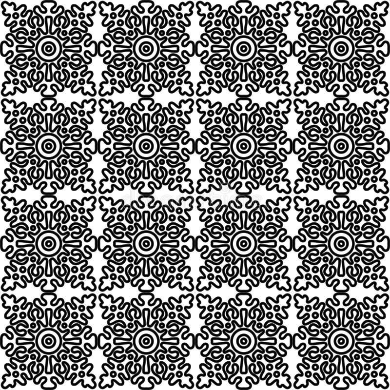 Vector безшовная картина с национальным русским шнурком черно-белым иллюстрация вектора