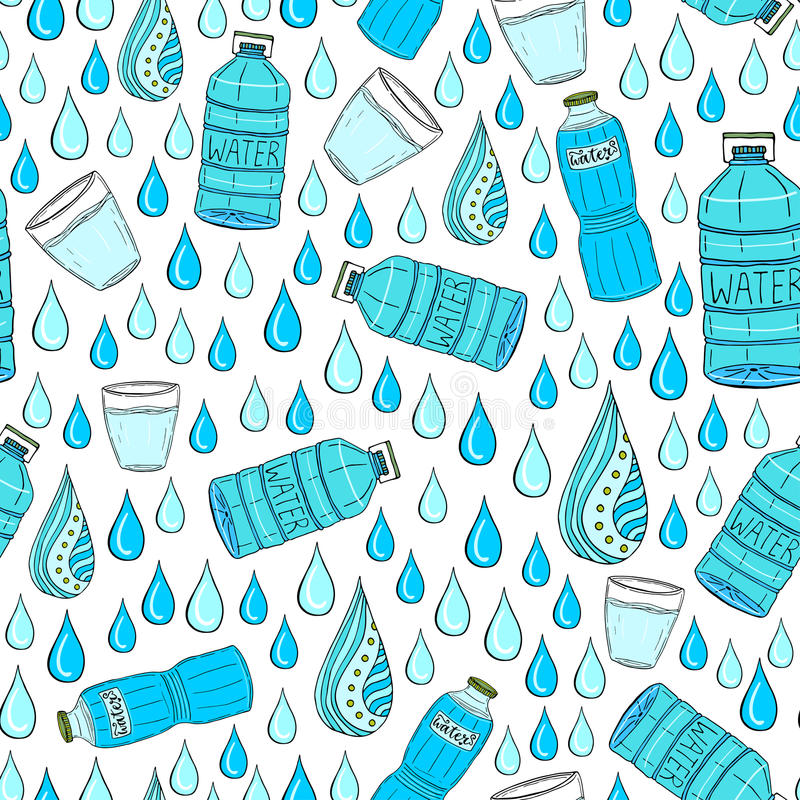 Vector безшовная картина с падениями и бутылками воды Оборачивать или упаковывать-дизайн бесплатная иллюстрация