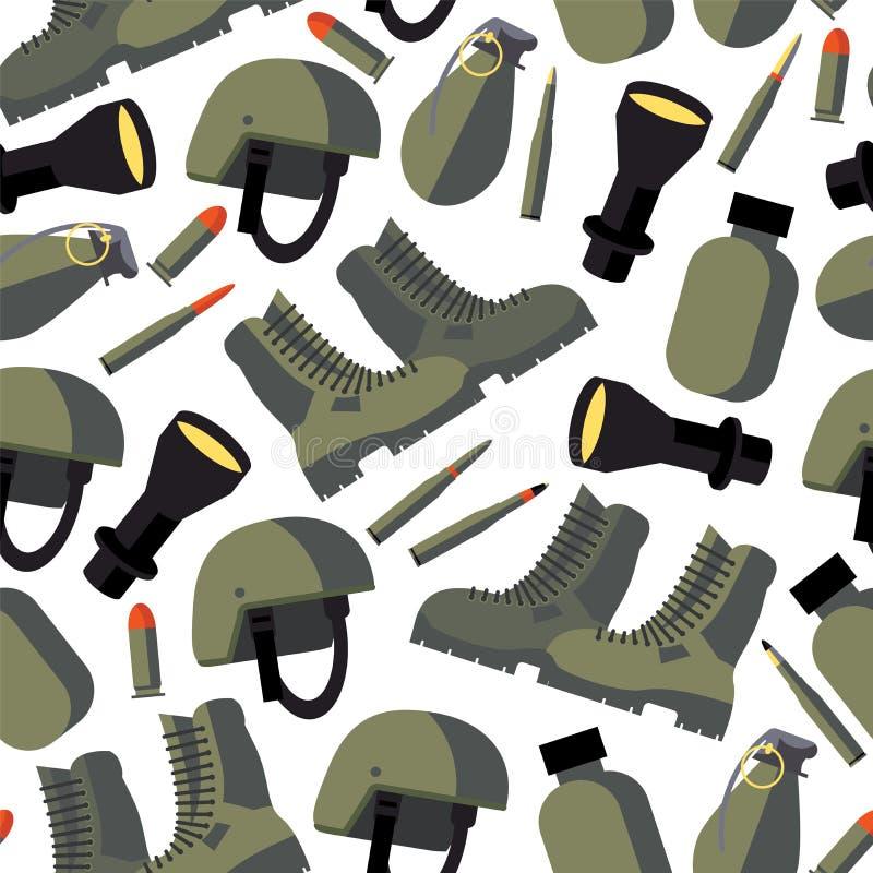 Vector безшовная картина с плоскими товарами армии как шлем, склянка, электрофонарь, воинские ботинки и пули на белой предпосылке бесплатная иллюстрация