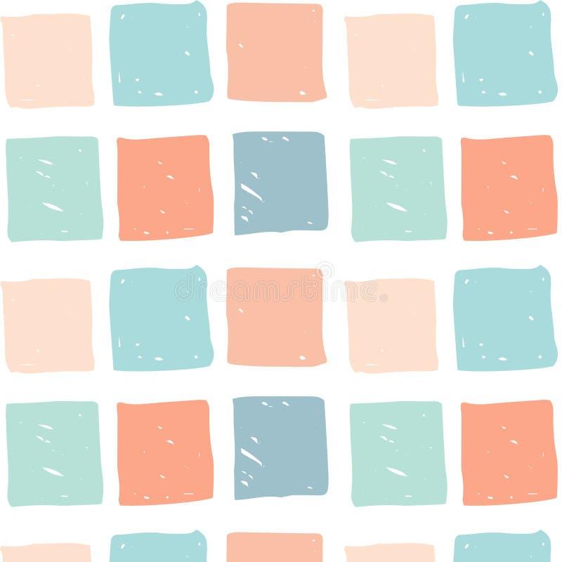 Vector безшовная картина с покрашенными квадратами нарисованными рукой иллюстрация штока