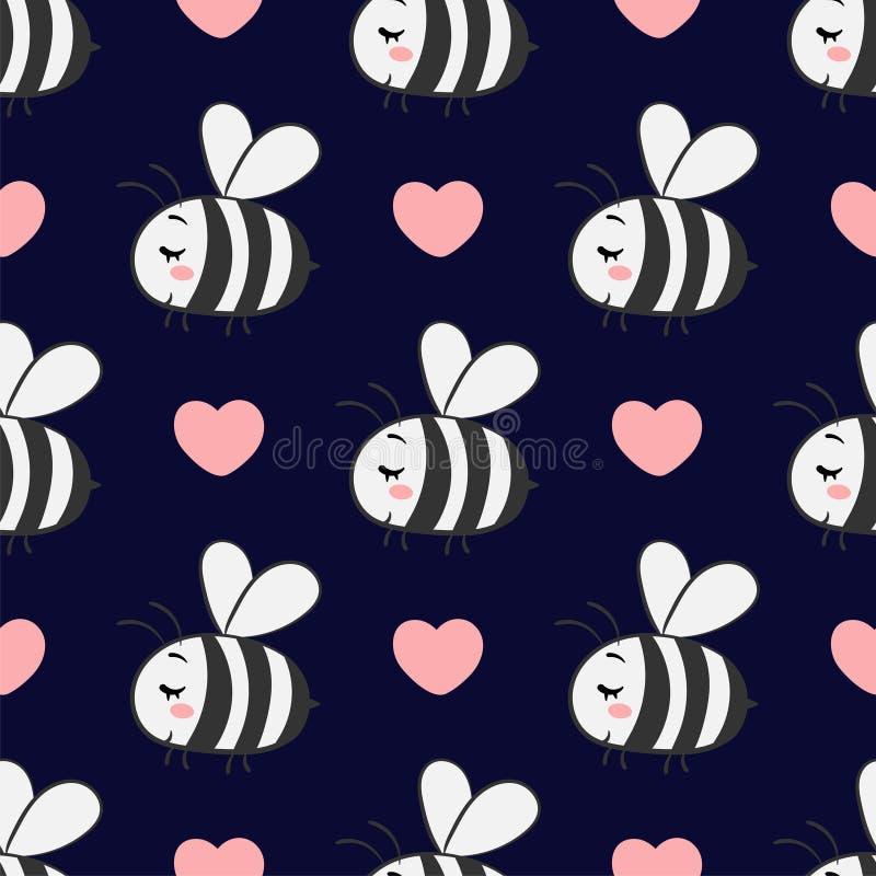 Vector безшовная картина с пчелами в влюбленности на темной предпосылке иллюстрация штока