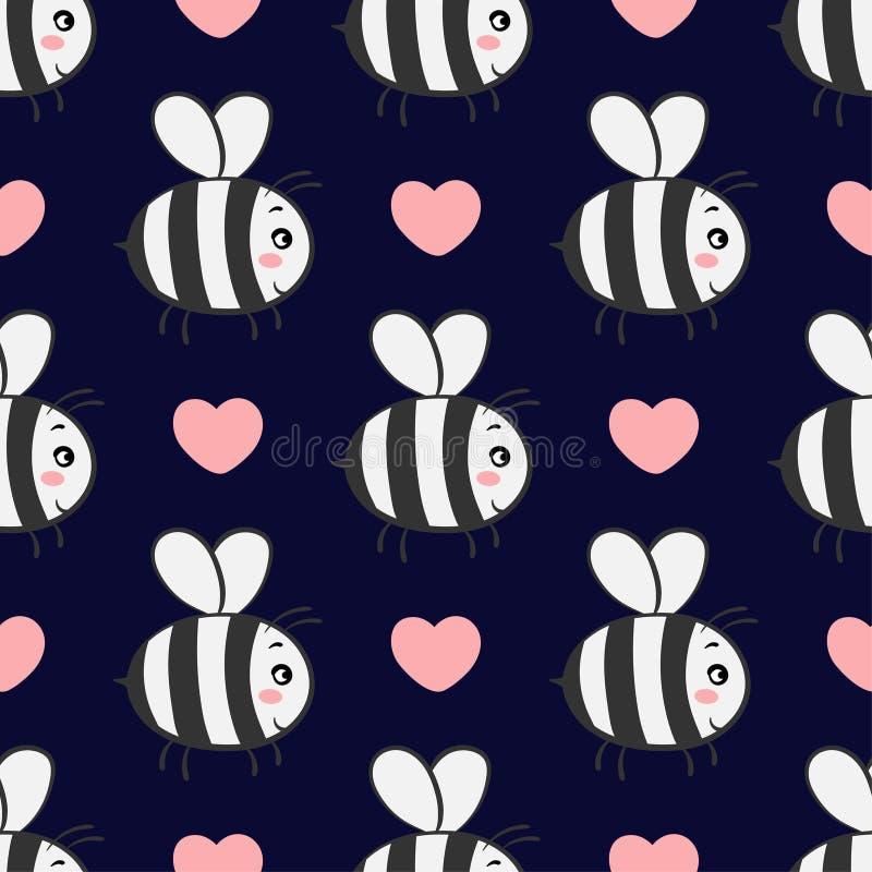 Vector безшовная картина с пчелами в влюбленности на темной предпосылке иллюстрация вектора