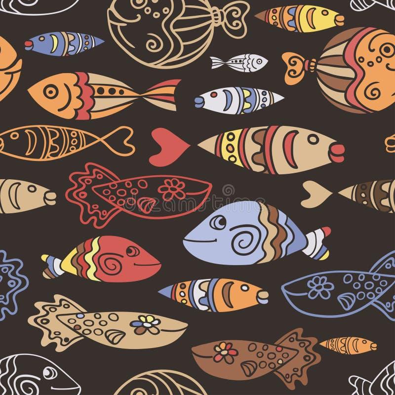 Vector безшовная картина с рыбами и волнами нарисованными рукой смешными в этническом стиле эскиза Декоративное скандинавское бес иллюстрация вектора