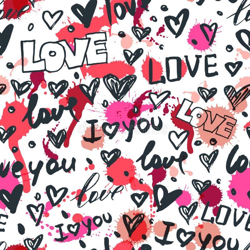 Vector безшовная картина с сердцами и влюбленностью слова нарисованными рукой Черно-белые сделанные эскиз к значки чернил и пятна бесплатная иллюстрация