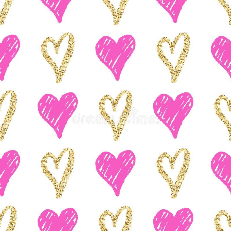 Vector безшовная картина с сердцами нарисованными рукой золотыми и розовыми иллюстрация вектора