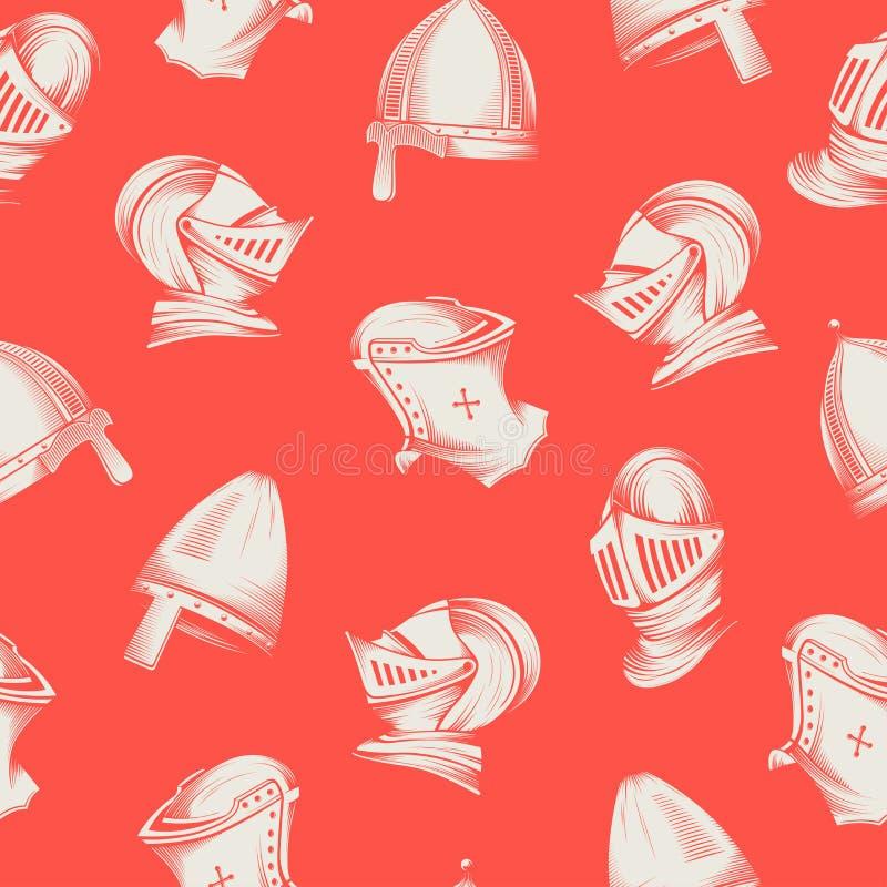 Vector безшовная картина с средневековыми шлемами, гравировка стиля эскиза бесплатная иллюстрация