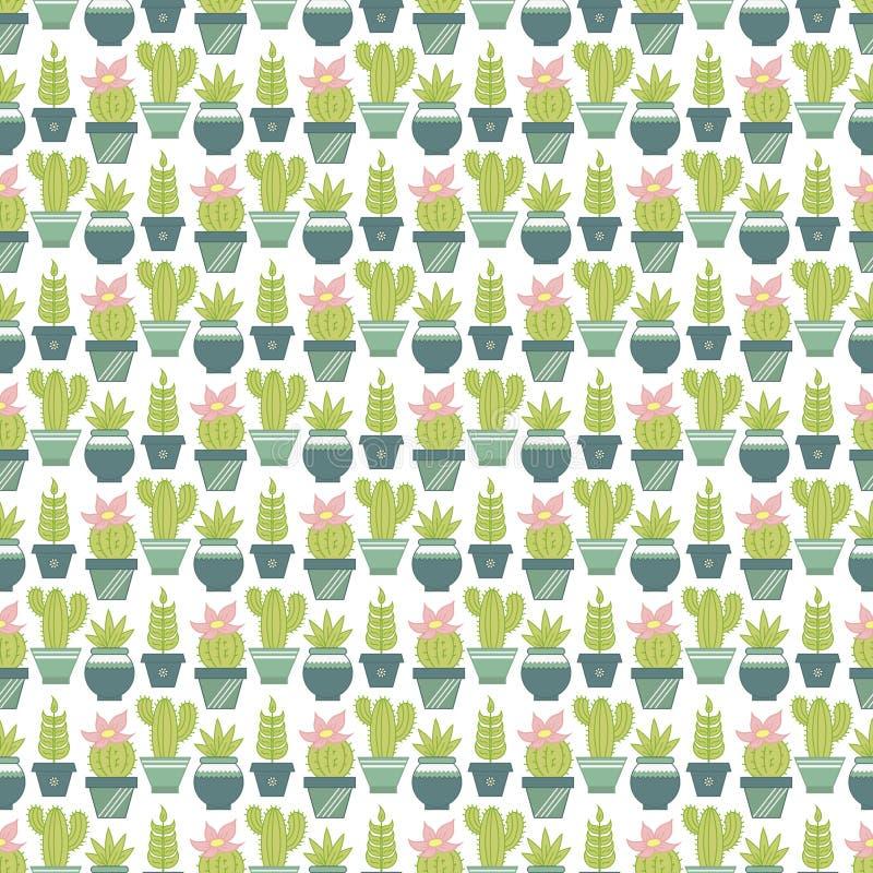 Vector безшовная картина с суккулентными заводами и кактусами в po иллюстрация штока