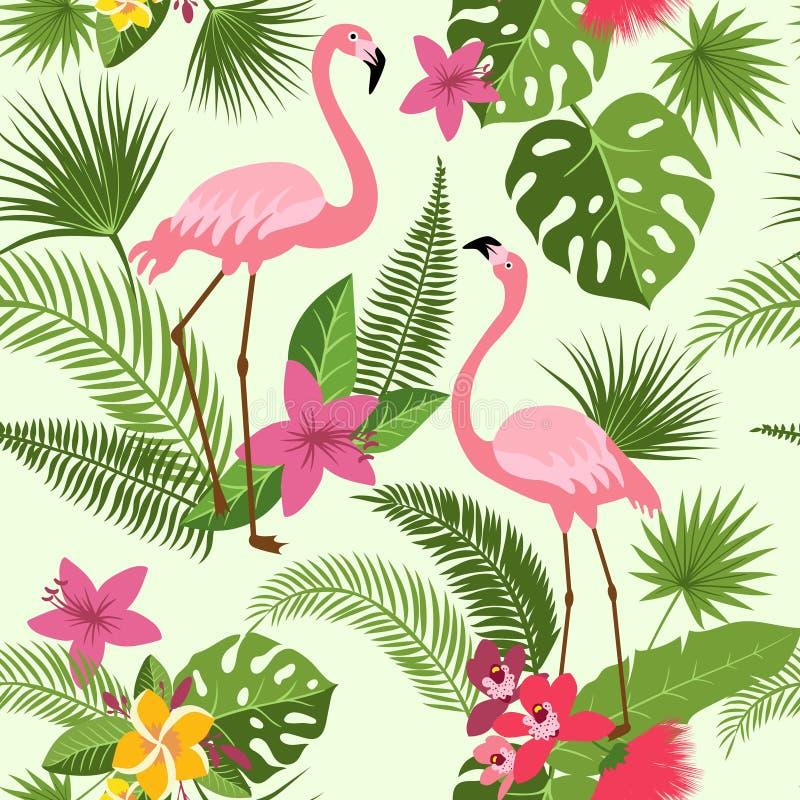 Vector безшовная картина с фламинго, тропическими цветками и пальмой Предпосылка hawaiian лета бесплатная иллюстрация
