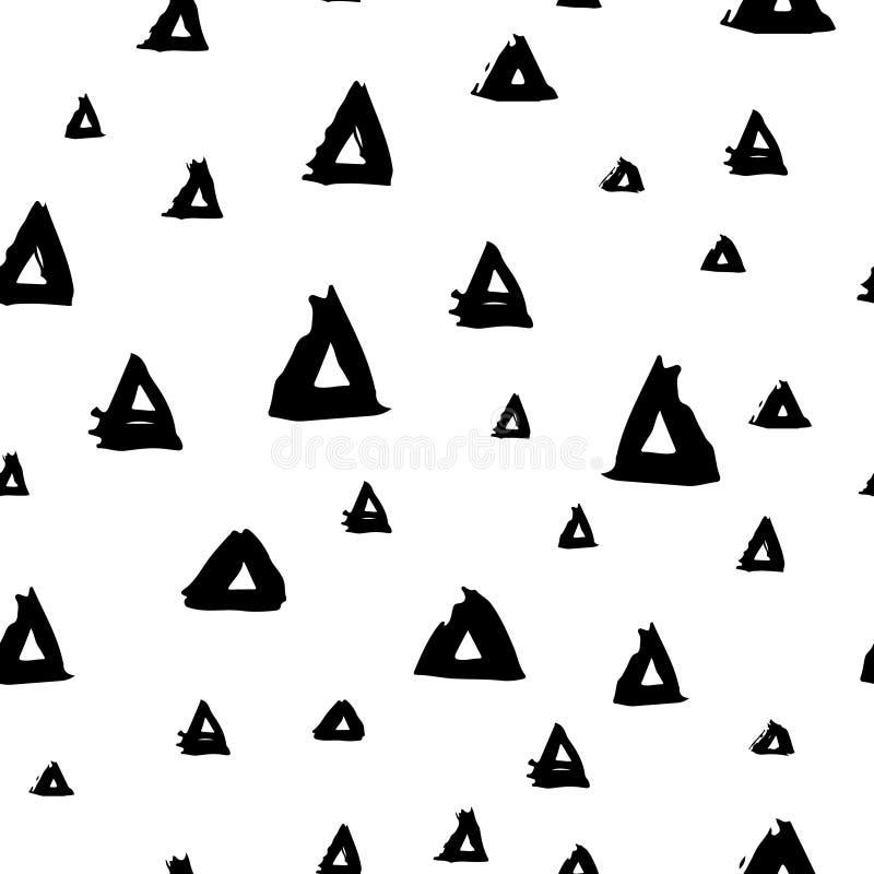 Vector безшовная картина с цветом треугольников щетки черным на белой предпосылке Покрашенная рукой текстура усадьбы Чернила геом иллюстрация вектора