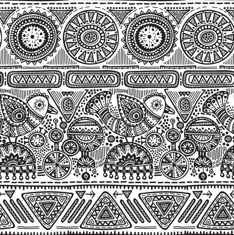 Vector безшовная картина с черно-белой треугольниками нарисованными рукой, богато украшенными птицами иллюстрация штока