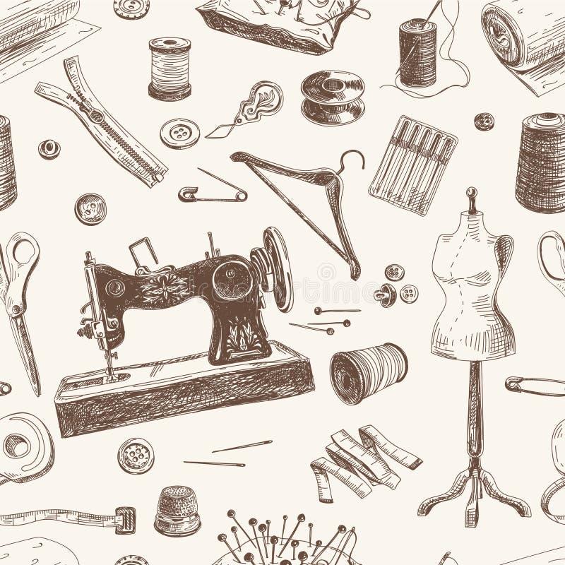 Vector безшовная картина с шить нарисованный рукой и иллюстрация штока