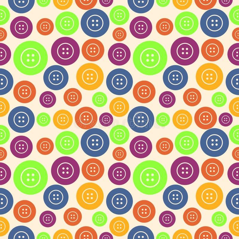 Vector безшовная картина с элементами ярких красочных кнопок иллюстрация штока