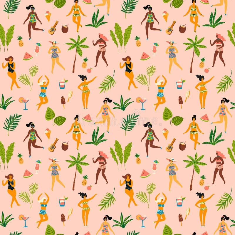Vector безшовная картина с ladyes танцев в купальниках и тропических листьях ладони иллюстрация штока