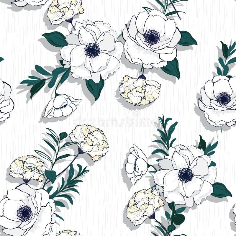 Vector безшовная красивая художническая белая зацветая скороговорка цветков иллюстрация штока