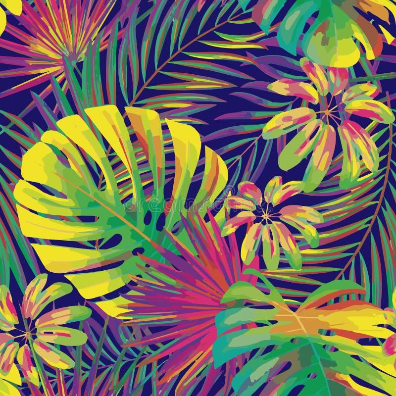 Vector безшовная красивая художническая яркая тропическая картина с лист monstera, frond, разделенными лист, филодендроном, летом бесплатная иллюстрация