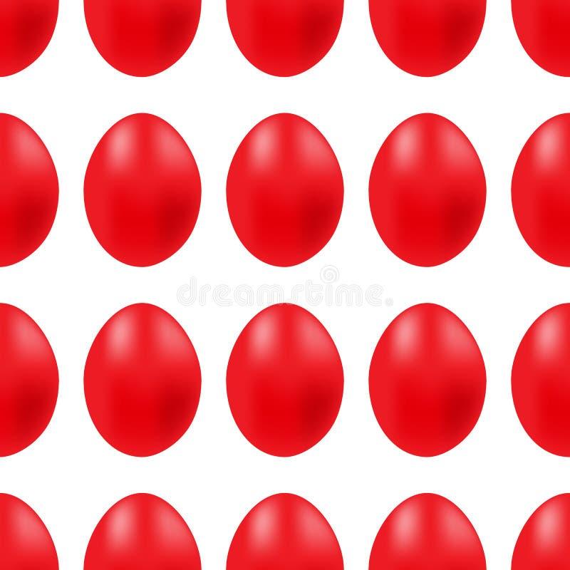 Vector безшовная простая картина с красным пасхальным яйцом на белой предпосылке иллюстрация штока