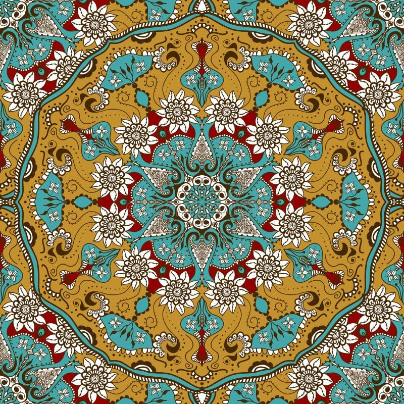 Vector безшовная текстура с флористической мандалой в индийском стиле Предпосылка ornamental Mehndi иллюстрация вектора